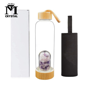 New Product Natural mixed Crystal Quartz Gravel Gemstone Healing Glass Energy Elixir drink Water Bottle Bamboo glass cup gift
