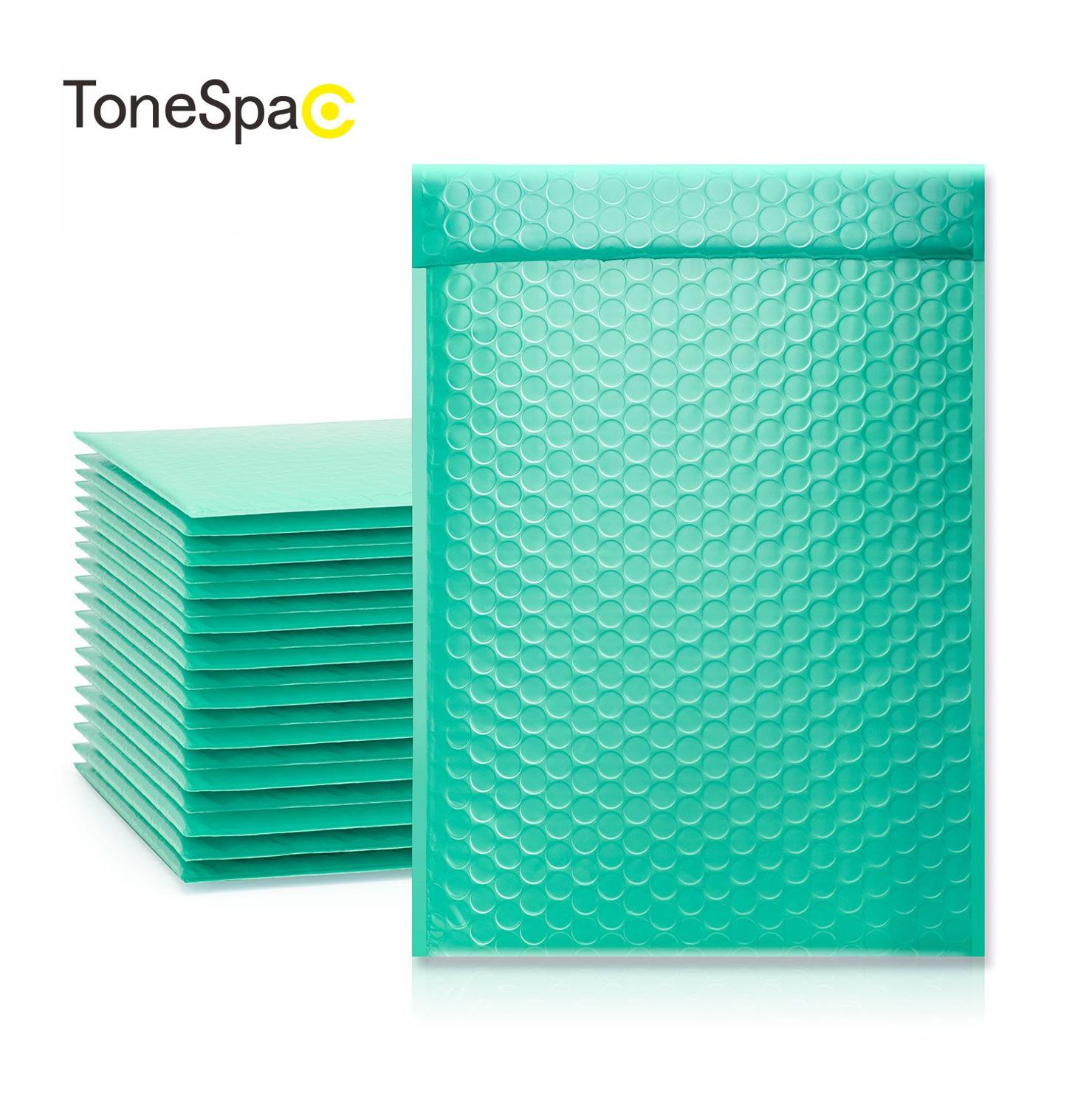 TONESPAC 190*260mm 50pcs Bubble Mailer Shipping Padded Envelope Self Seal Wrap Waterproof Mailing Packaging Bags Teal