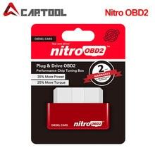 NitroOBD2-caja de conexión de Chip de ajuste y accionamiento OBD2, herramienta de escaneo de 200km