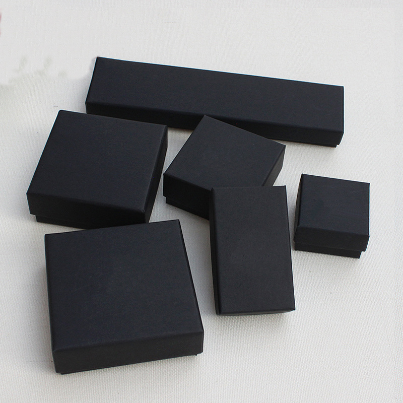 1PC Square Rectangle Jewelry Organizer Box Engagement Ring For Earring Necklace Bracelet Display Gift Box Holder Black Box