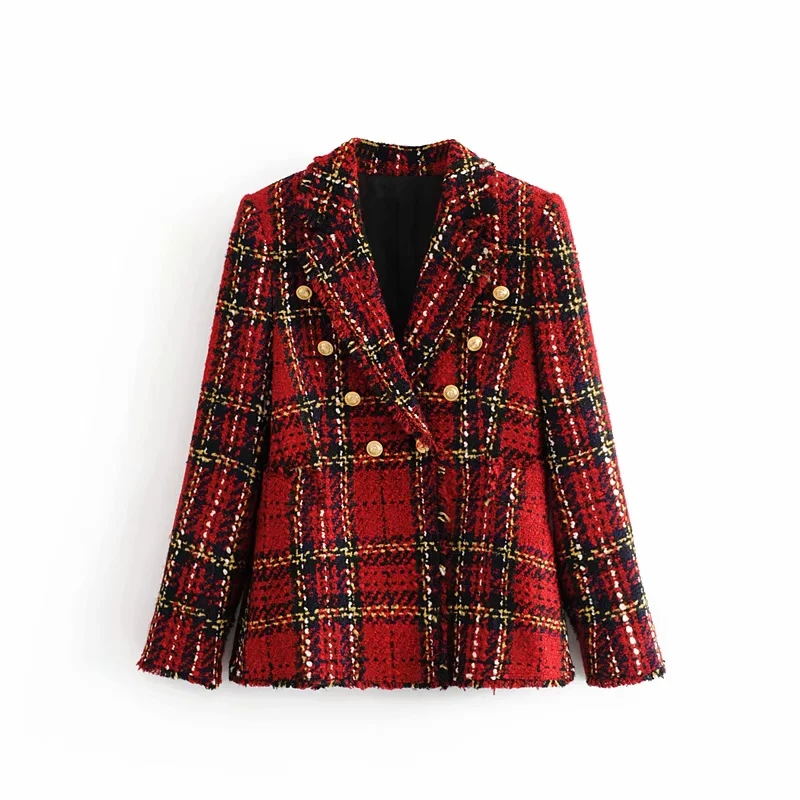 Winter Vintage Red Tweed Blazer Women Plaid Coat Vintage Thick Office Suit Jacket Sprint Women Blazers And Jackets