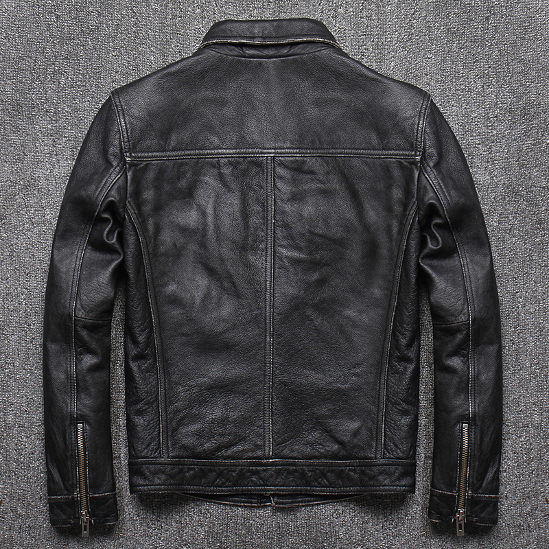 Leather Jacket Genuine Cow Leather Locomotive Cowhide Leather Jackets Vintage Motorcycle Erkek Deri Mont U-1790 KJ1454