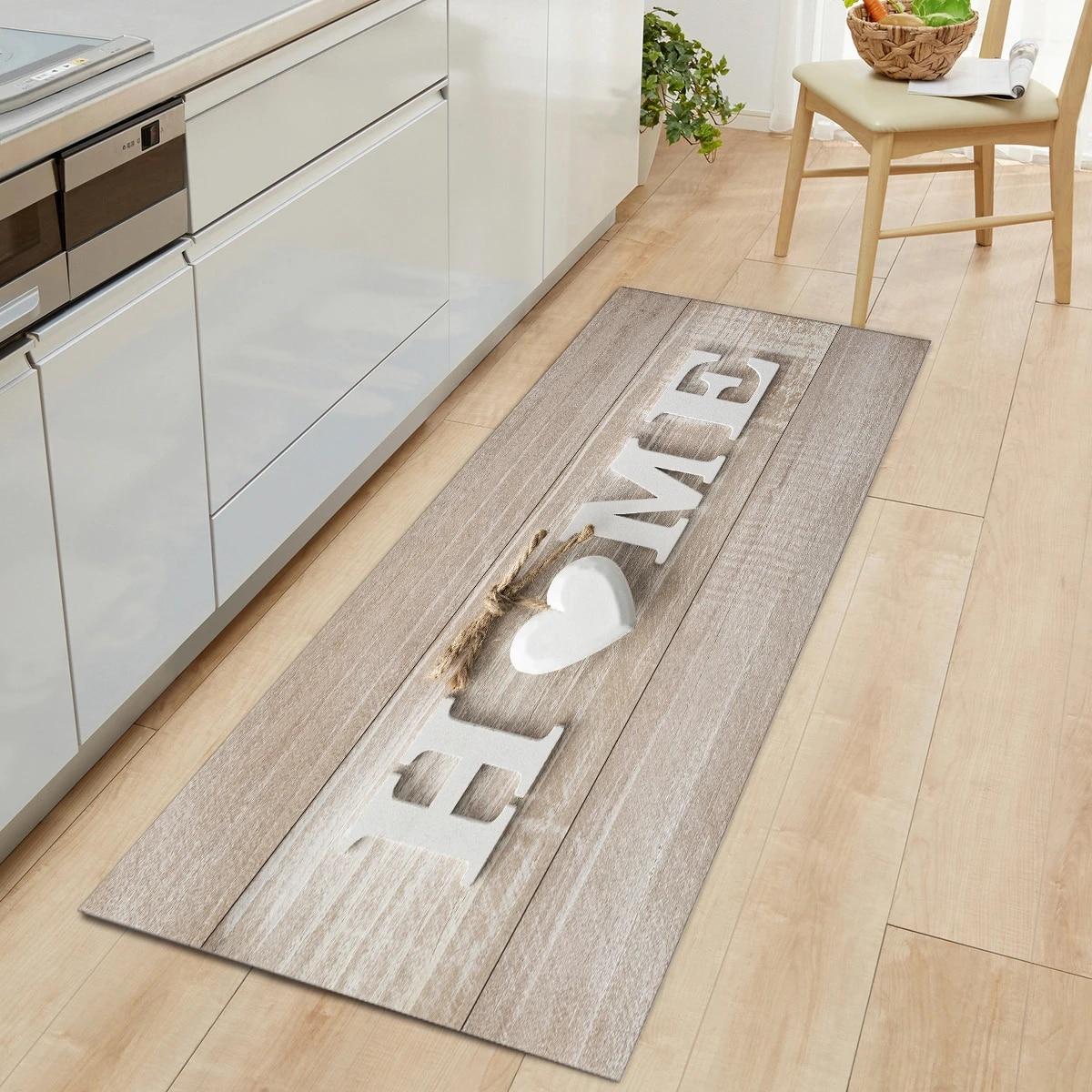 Wood Grain Door Kitchen Mat Carpet Non Slip Home Floor Mat Rugs Welcome  Mats for Front Door Kitchen Living Room