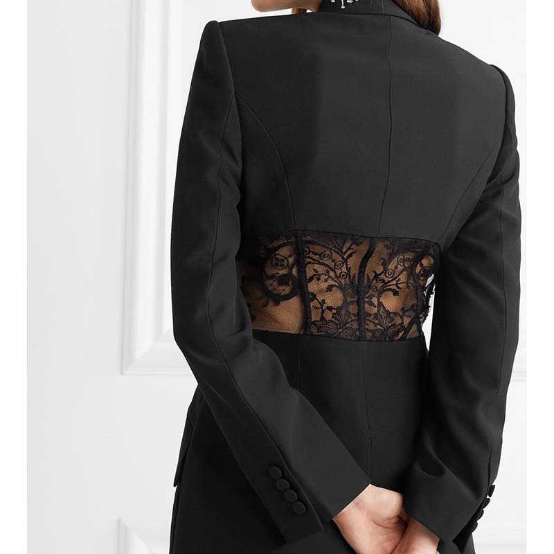 Cosmicchic 2020 ผู้หญิงรันเวย์ออกแบบ Blazer ลูกไม้ Hollow Elegant Slim Blazers แจ็คเก็ตผู้หญิงสีดำสีขาวทำงานหญิง