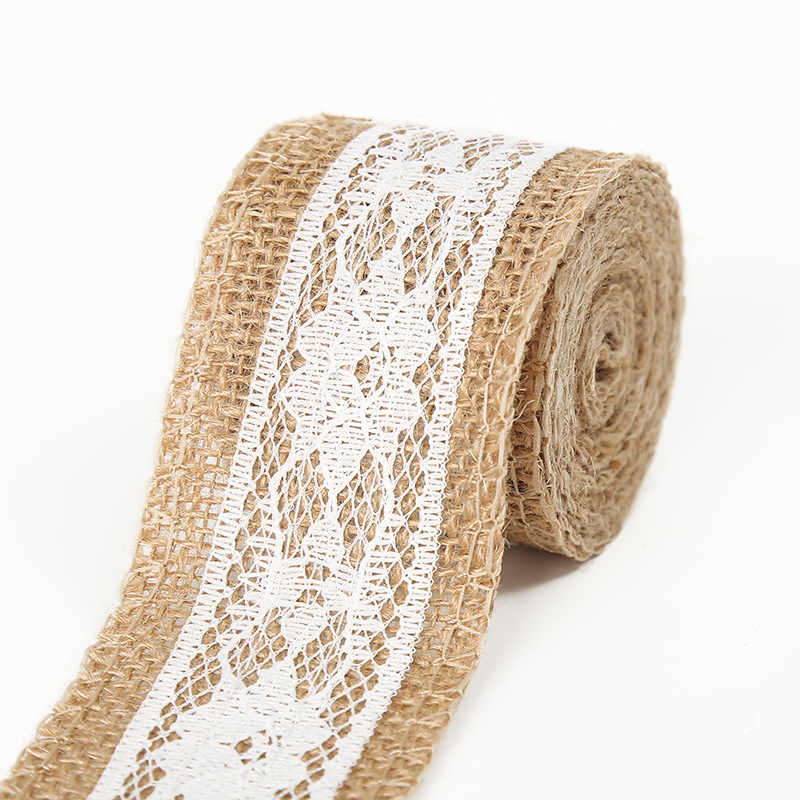 2 Meters Colorful Jute Burlap Linen Ribbon DIY Handmade Craft Lace Wedding Favor