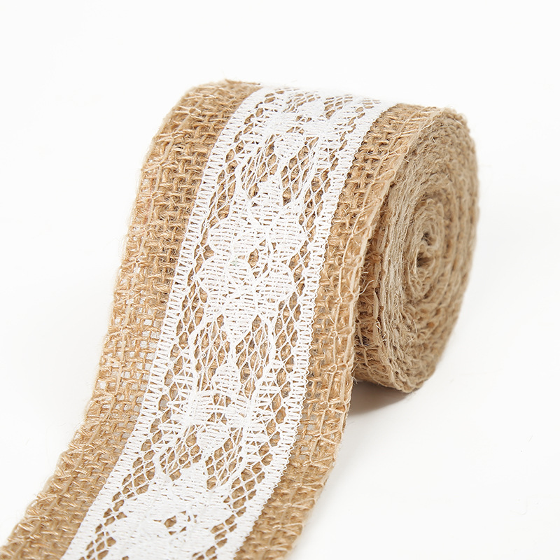 Burlap Ribbon Lace Roll Jute Twine Ired Burlap Ribbon For Wedding Decorations Diy Handmade Crafts