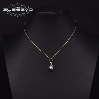 GLSEEVO 925 Sterling Silver Pendant Necklace For Woman Wedding Natural Freshwater Pearl Color Minimalist Jewelry GN0241
