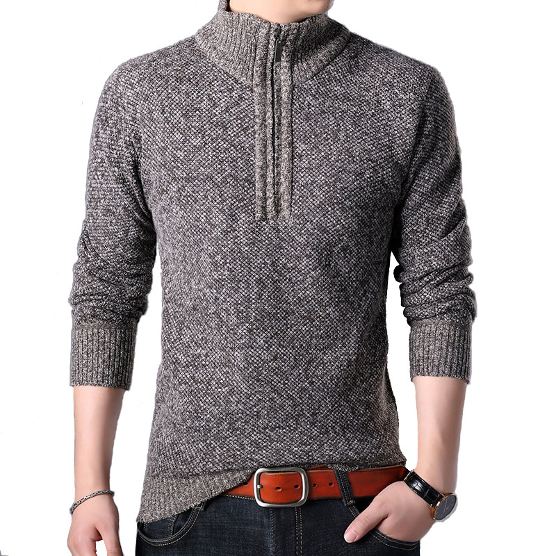 Dropshipping 2019 Winter Warm Pull Men Turtleneck Sweater Men Christmas Clothes Social Men's Turtleneck Zipper Pullover Men