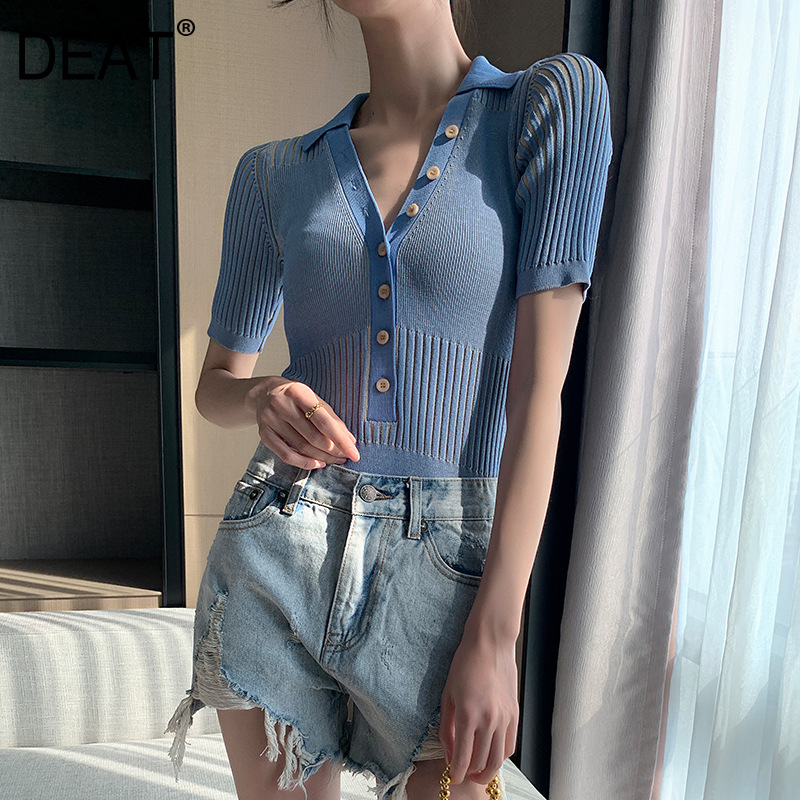 DEAT 2020 New Summer Fashion Casual Patchwork Blue Elastic Knitted Button V-neck Slim Short-sleeve Romper Women SD585