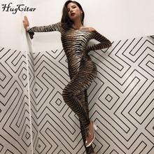 Hugcitar Тигр принтом принт slash шеи с длинным рукавом Лонгслив сексуальные комбенизон комбенезон на осень-зиму женское уличная одежда Стройный наряды Боди