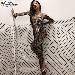 Hugcitar 2019 с принтом тигра, с вырезом лодочкой, с разрезом, с длинным рукавом, сексуальный комбинезон, Осень-зима, для женщин, уличная одежда, тон...