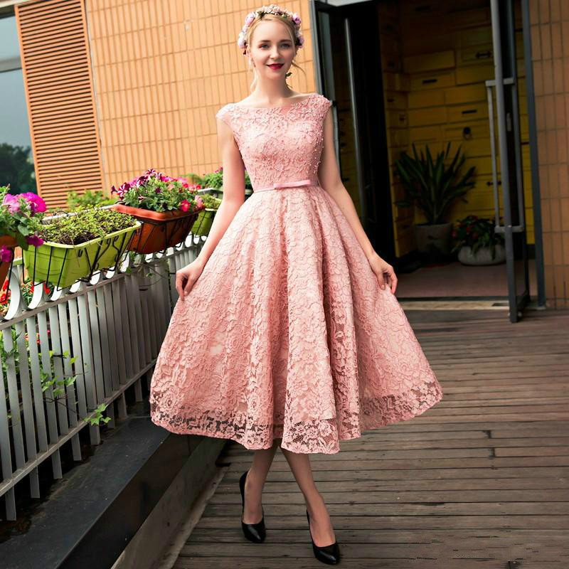 Fashionable Lovely Pink Lace Beaded Flower O Neck Homecoming Dresses Lace Women Dresses Cute Lady Party Dresses