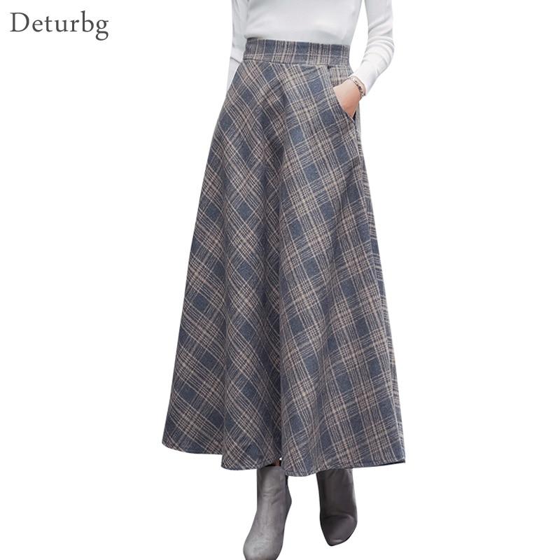 Женская винтажная длинная юбка в клетку, уличная шерстяная юбка на молнии с высокой талией и карманами в японском стиле, зима 2018, SK242|Юбки|   | АлиЭкспресс