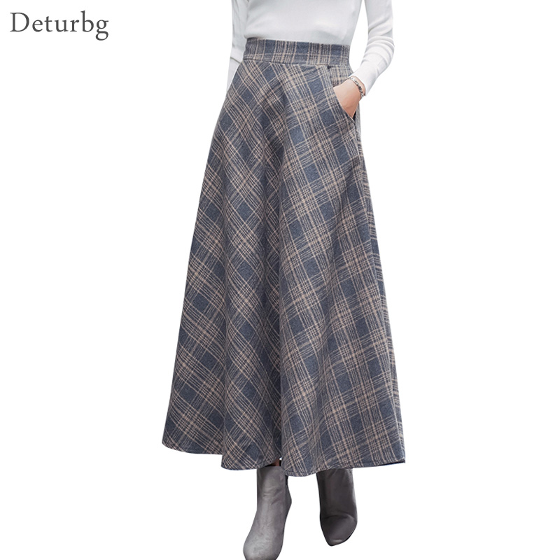 Japanese Style Vintage Plaid Long Skirt For Women Streetwear Zipper Elastic High Waist Pocket Woolen Skirts 2018 Winter SK242