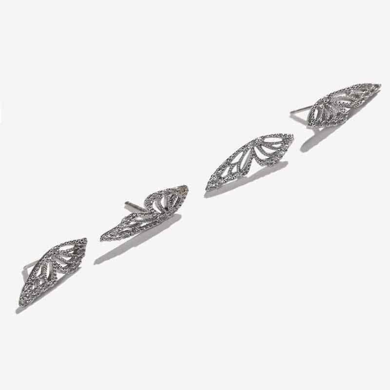 Aomu 2020 nova moda metal ouro cor strass borboleta asa parafuso prisioneiro brincos para as mulheres bonito pequeno cristal brinco jóias