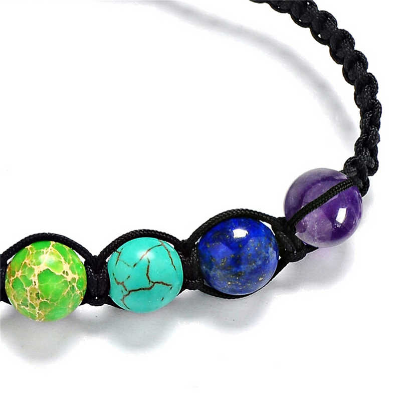 7 chakra cura equilíbrio trançado yoga reiki oração pedras unissex jóias bijouterie acessórios corrente presente contas pulseira