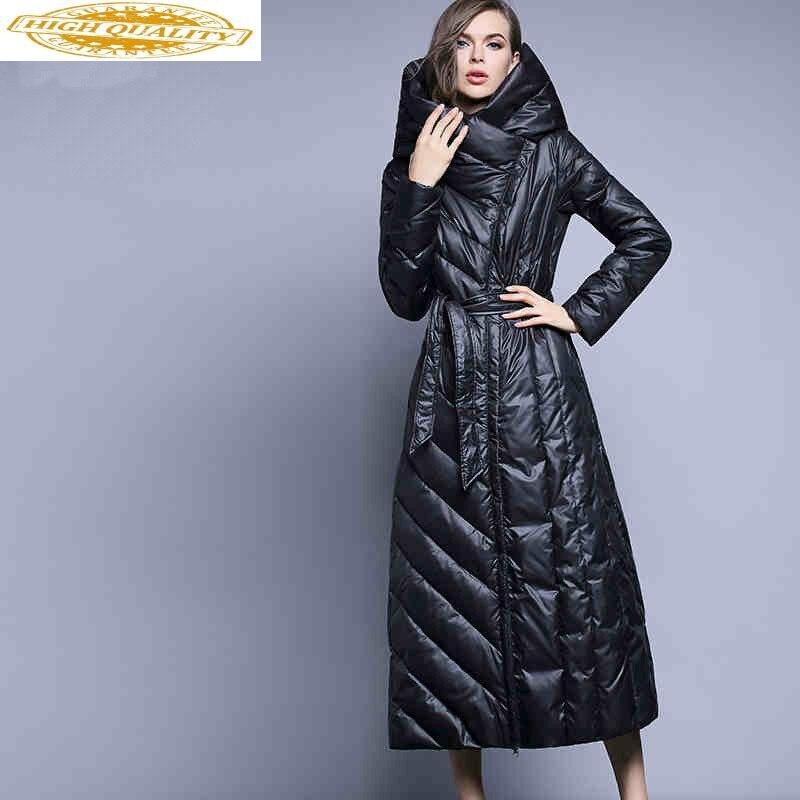 Long Winter Down Jacket Woman Hooded Puffer Duck Down Coat Women Plus Size Warm Women's Jackets 2020 HY-0016 KJ3025