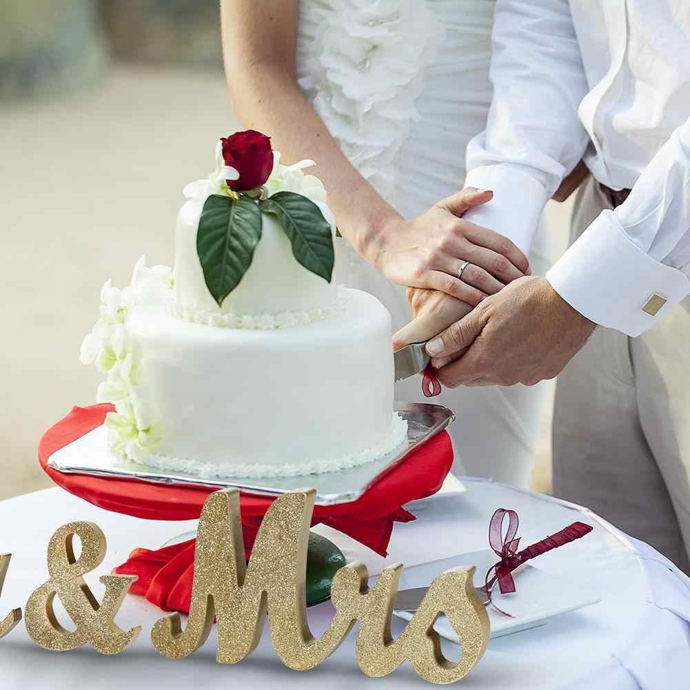 Gaya Vintage Emas Mr & Mrs Kayu Huruf untuk Dekorasi Pernikahan DIY Dekorasi