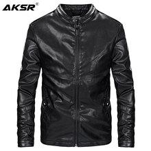 AKSR 2019 Fashion Autumn Mens PU Leather Jacket Men Faux Biker Motorcycle Jaqueta De Couro