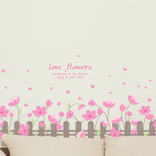 [shijuekongjian] Pink Color Flowers Baseboard Stickers PVC Material Wall Sticker for Kids Room Baby Bedroom House Decoration
