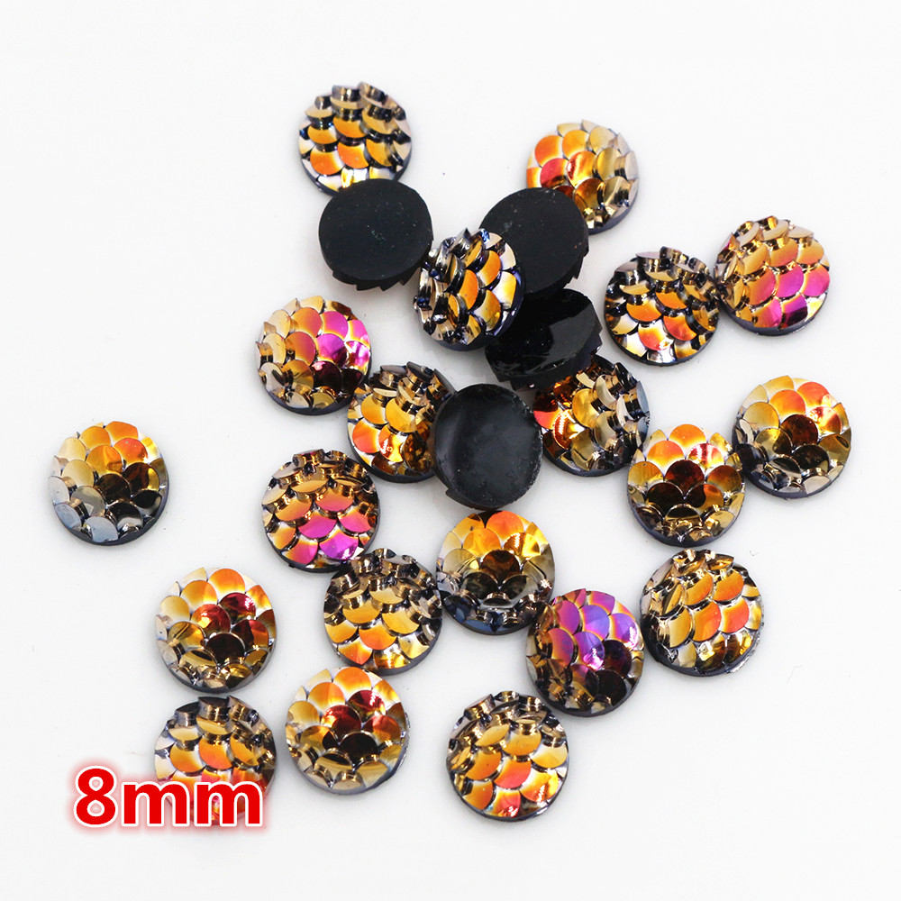 New Fashion 8mm 40pcs Dream AB Colors Fish Scales Style Flat Back Resin Cabochons For Bracelet Earrings Accessories-O6-24