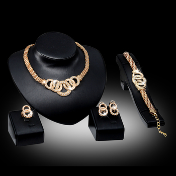 Luxury Golden Alloy Fashion jewelry set  For Women Wedding Necklace Earring Bracelet Ring Sets Trendy Bridal Accessories Fashion Fashion Jewelry