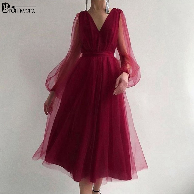 Simple V Neck Long Sleeve Short Prom Dress 2020 Burgundy A-Line Tulle Tea Length Cheap Evening Party Gowns Homecoming Dresses