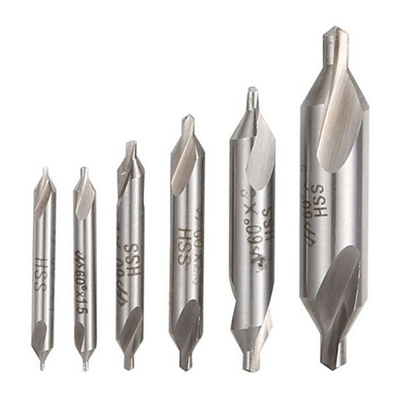 New 6 PCS HSS Combined Center <font><b>Drills</b></font> Bit Set Countersink 60 Degree Angle 5/3/2.5/2/<font><b>1.5</b></font>/1 <font><b>mm</b></font> image