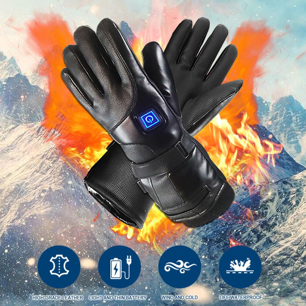 Winter 7.4V Lithium Battery Charging Heating Gloves Permanent Thermal Insulation Third Gear Temperature Control Cold-proof Glove