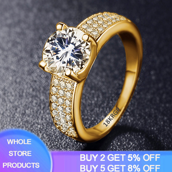 YANHUI 925 Solid Silver Circle Zirconia Diamond Rings For Women 18K Gold Color Cubic Zirconia Wedding Fine Jewelry Ring For Girl yanhui have 18k rgp logo pure solid yellow gold ring luxury round solitaire 8mm 2 0ct lab diamond wedding rings for women zsr169