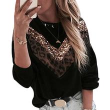 Bluza damska bluza Patchwork wzór w cętki krotka bluza cekinowa zamszowa bluza casualowe w stylu streetwear bluza damska D30 tanie tanio NoEnName_Null Poliester Swetry Leopard Na co dzień O-neck REGULAR Dzianiny Pełna 509402 Krótki 200001303
