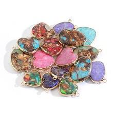 Подвески из натурального имперского камня в форме сердца соединители