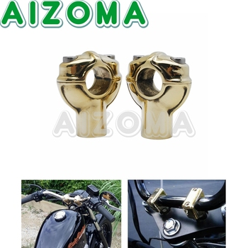 "Brass 1"" Motorcycle Handlebar Risers Vintage 25.4mm Handle Bar Mount Clamp Risers for Harley Triumph Chopper Dyna Cafe Racer"