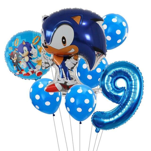 7pcs Lot Sega Sonic The Hedgehog Balloons Super Hero 30inch Number Foil Balloon Boy Girl Happy Brithday Party Balloons Decor Ballons Accessories Aliexpress