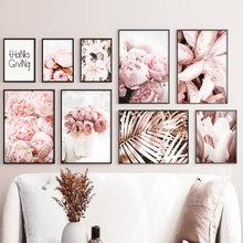 Różowa piwonia lilie płatek liść bananowca strona główna płótno artystyczne malarstwo Nordic plakaty i druki zdjęcia ścienny do wystrój salonu