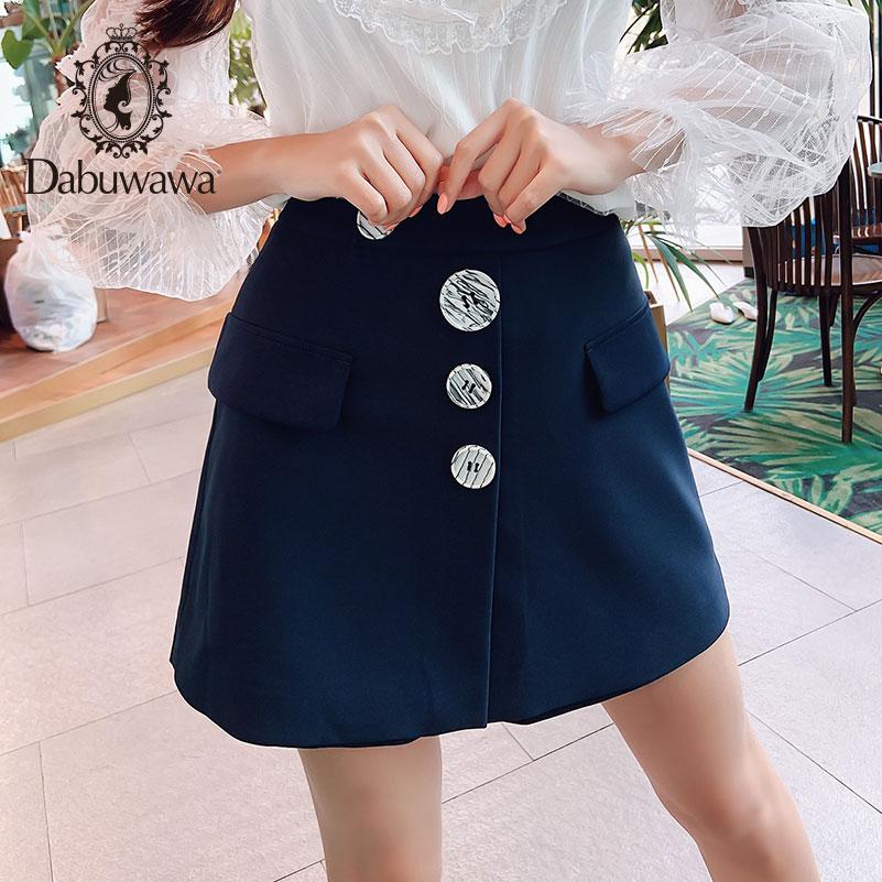Dabuwawa Autumn Vintage A-line Skirt  Cross High Waist A Skirt Zipper Split Bodycon Casual Short Skirts Women DN1CSP003