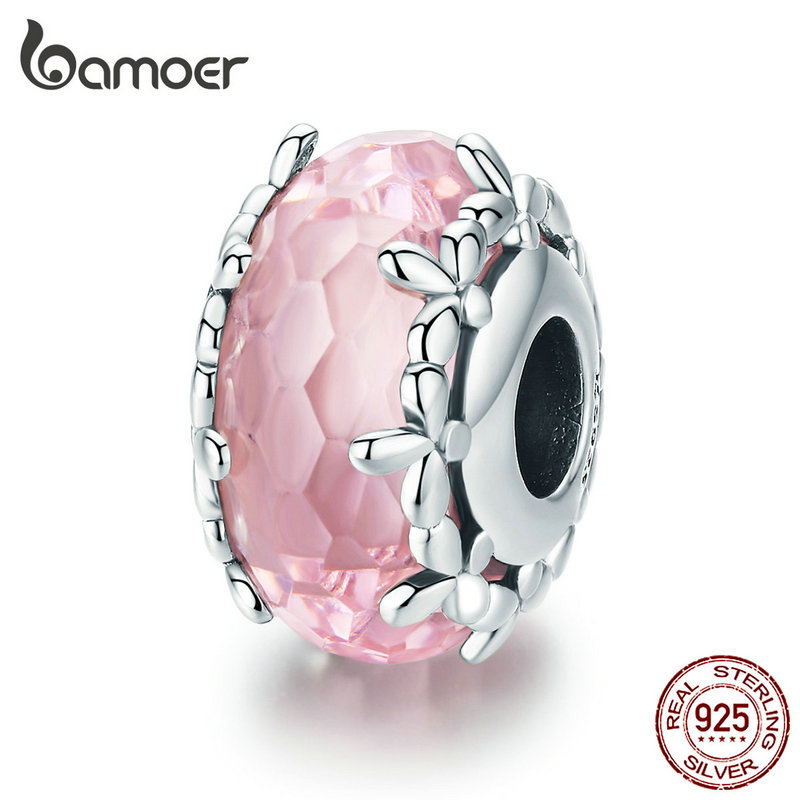 Bamoer Authentic 925 Sterling Silver WILD HEART Murano Bead Fit Bracelet Jewelry
