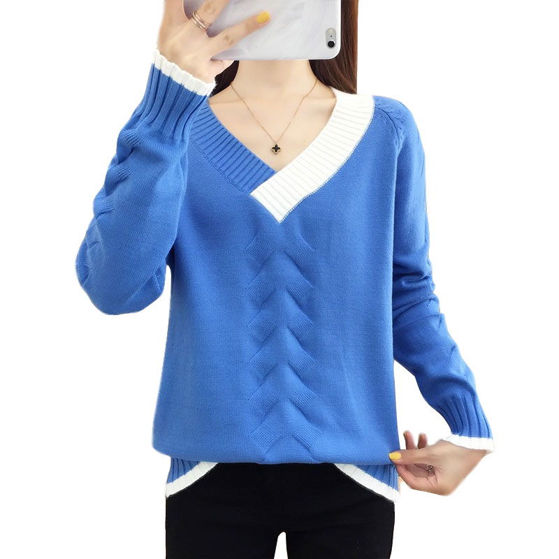 Hot 2019 New Women Loose Knit Sweater Autumn Winter Patchwork V-neck Female Pull Short Sweaters Jumpers Casual Pullover Tops