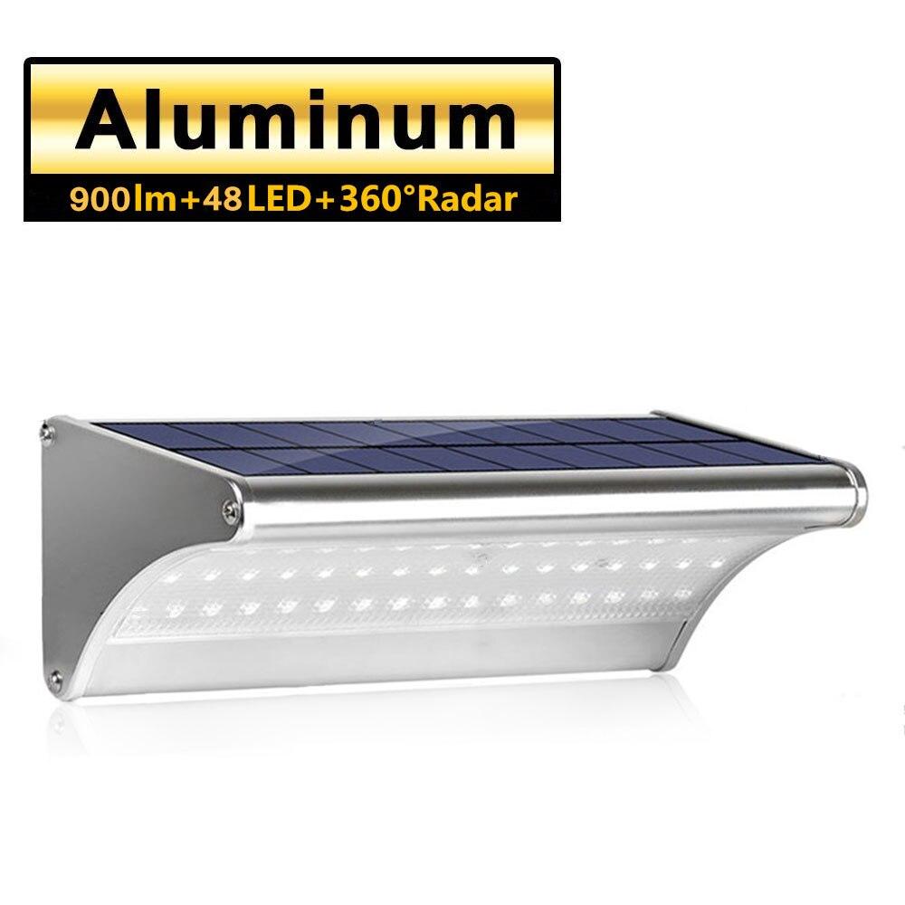 luz solar ao ar livre de aluminio a prova d900agua 48 led 900lm sensor radar microondas
