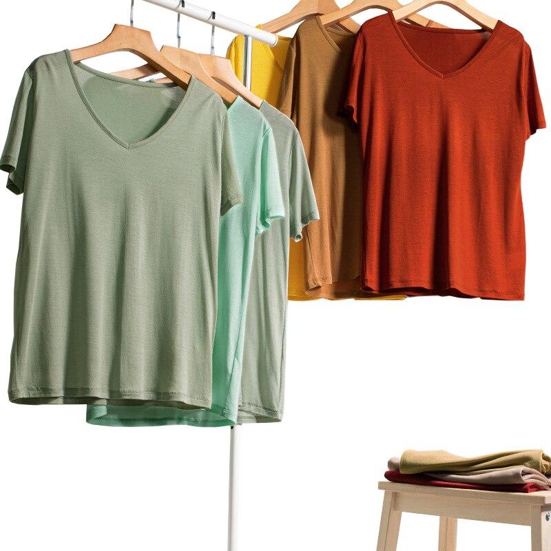 Новинка 2020, мягкая Летняя женская футболка с v-образным вырезом, 90% шелк, 10%, футболка SO0065