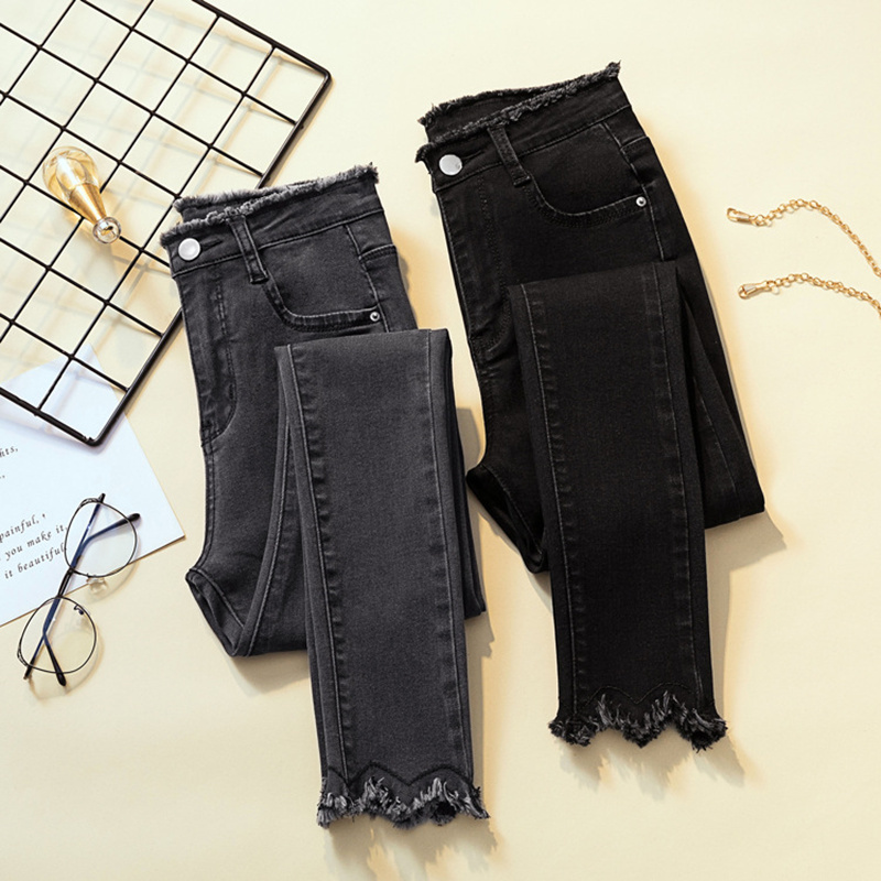 2020 Spring Jeans For Women High Waist Skinny Pencil Blue Denim Pants Women Black Stretch Bottoms Slim Pants For Women Trousers
