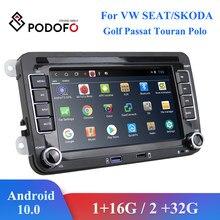 Podofo 2G+32G Android 10.0 2 din Car Multimedia Player Radio GPS For Volkswagen VW Passat B6 Touran GOLF5 POLO Tiguan Jetta