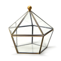 Modern Glass Geometric Terrarium Five Sides Tabletop Succulent Fern Moss Plant Display Box Planter Flower Pot Terrarium Decor