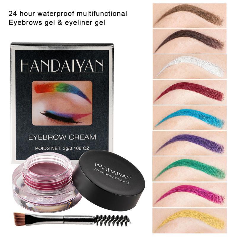 HANDAIYAN 12 couleur sourcil crème Super étanche professionnel sourcil Gel haute teinte sourcils outils de maquillage cosmétiques avec brosse TSFH