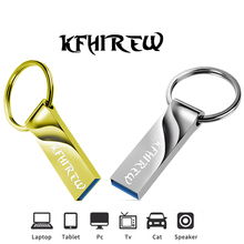 KFHIREW metal Pen Drive 128GB Key USB Stick Flash 64GB Pendrive 32GB cle usb memory 16GB USB Flash Drive 8GB free Type-c adapter