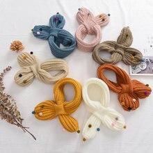 Вязаный милый детский шарф зимний теплый однотонный плюшевый