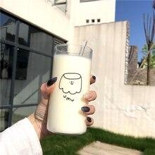 Straw-Glass-Cup Pudding-Printing Heat-Insulation Milk-Breakfast Cartoon Simple