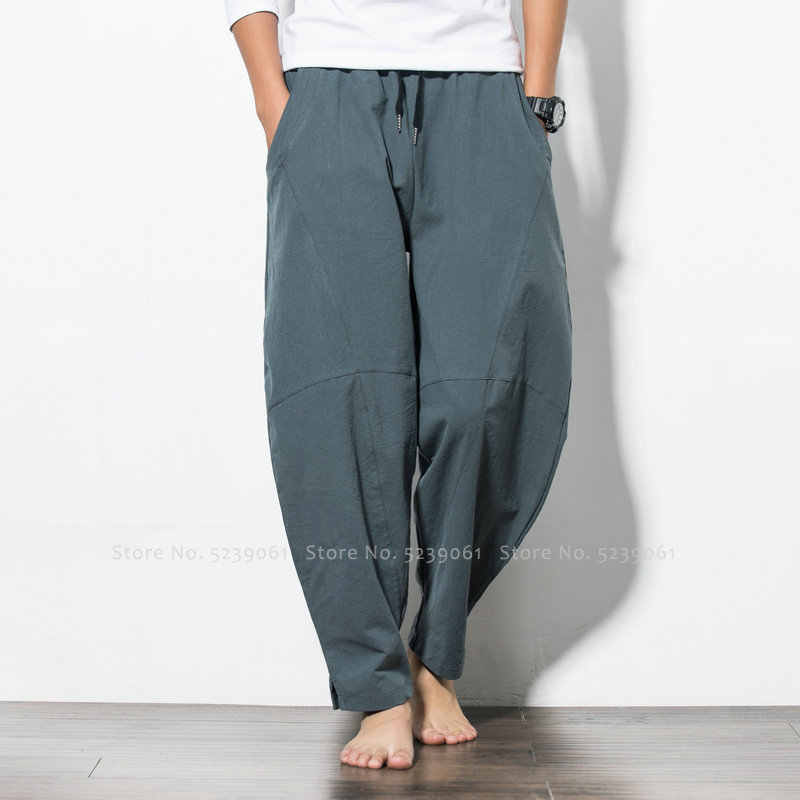 Японский стиль китайский низ для мужчин Летние широкие брюки плюс размер хлопковые брюки хип хоп шаровары индийский Вьетнам уличная