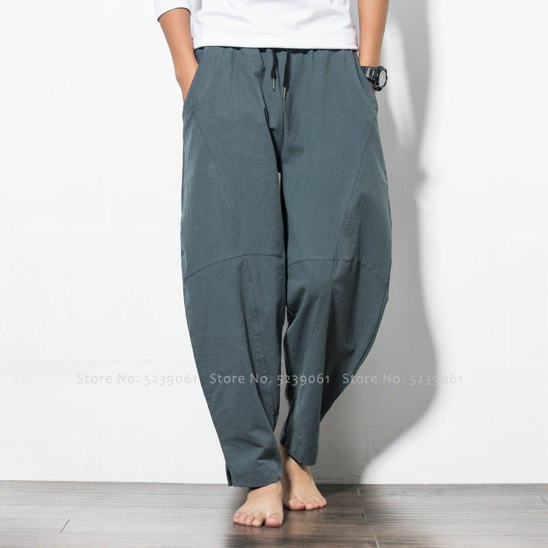 Japanese Style Chinese Bottom For Men Summer Wide Leg Plus Size Cotton Trousers Hip Hop Harem Pants Indian Vietnam Streetwear