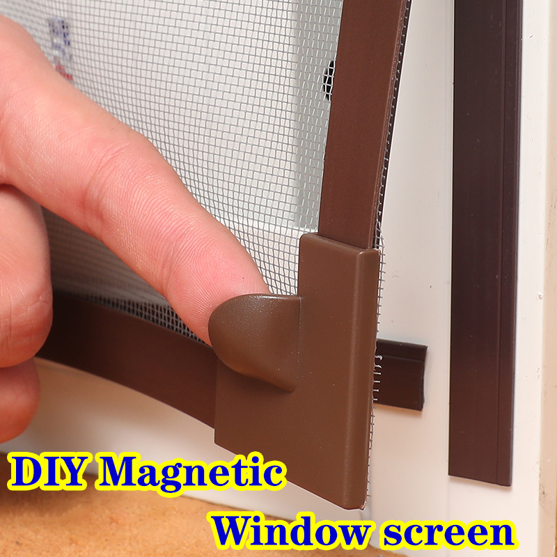 Magnet Curtains Adjustable Magnetic Window Screen Insect Mesh Removable Washable Invisible Fly Mosquito Net Customize Screen Kit